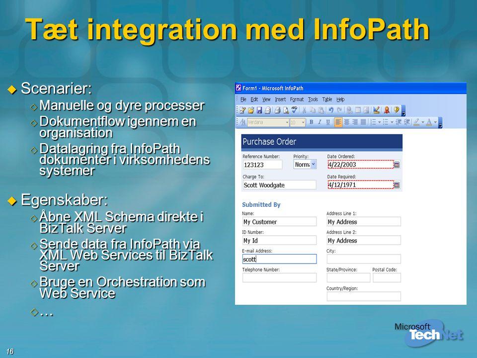 Tæt integration med InfoPath