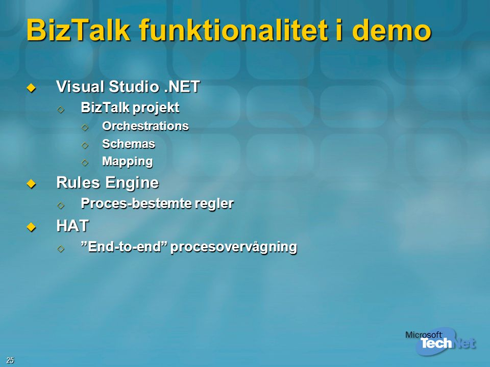 BizTalk funktionalitet i demo