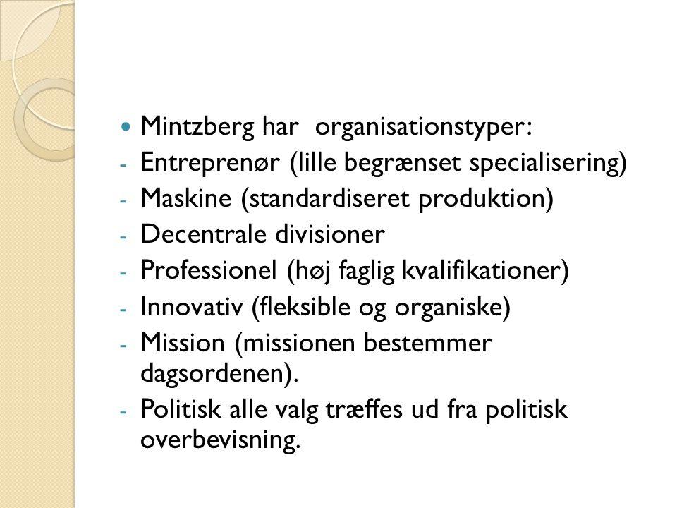 Mintzberg har organisationstyper:
