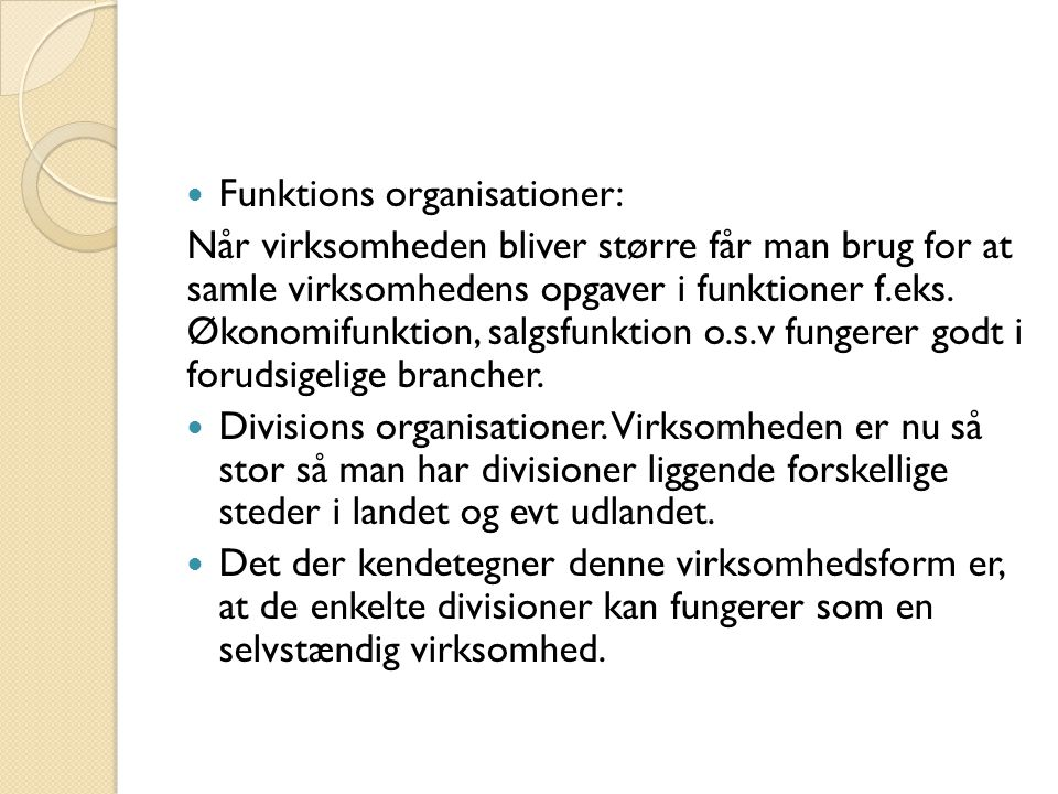 Funktions organisationer: