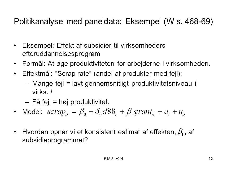 Politikanalyse med paneldata: Eksempel (W s. 468-69)