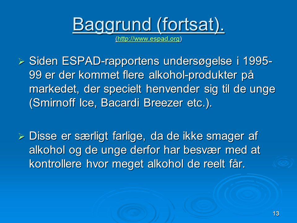 Baggrund (fortsat). (http://www.espad.org)