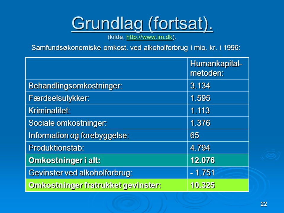 Grundlag (fortsat). (kilde, http://www.im.dk).