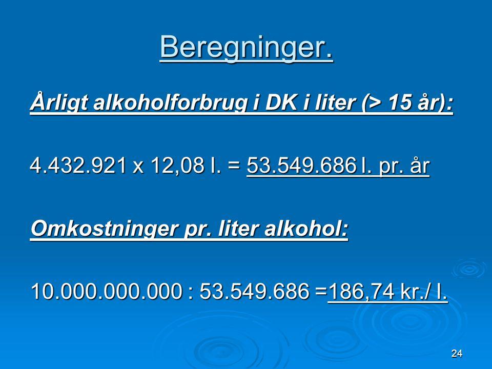 Beregninger. Årligt alkoholforbrug i DK i liter (> 15 år):