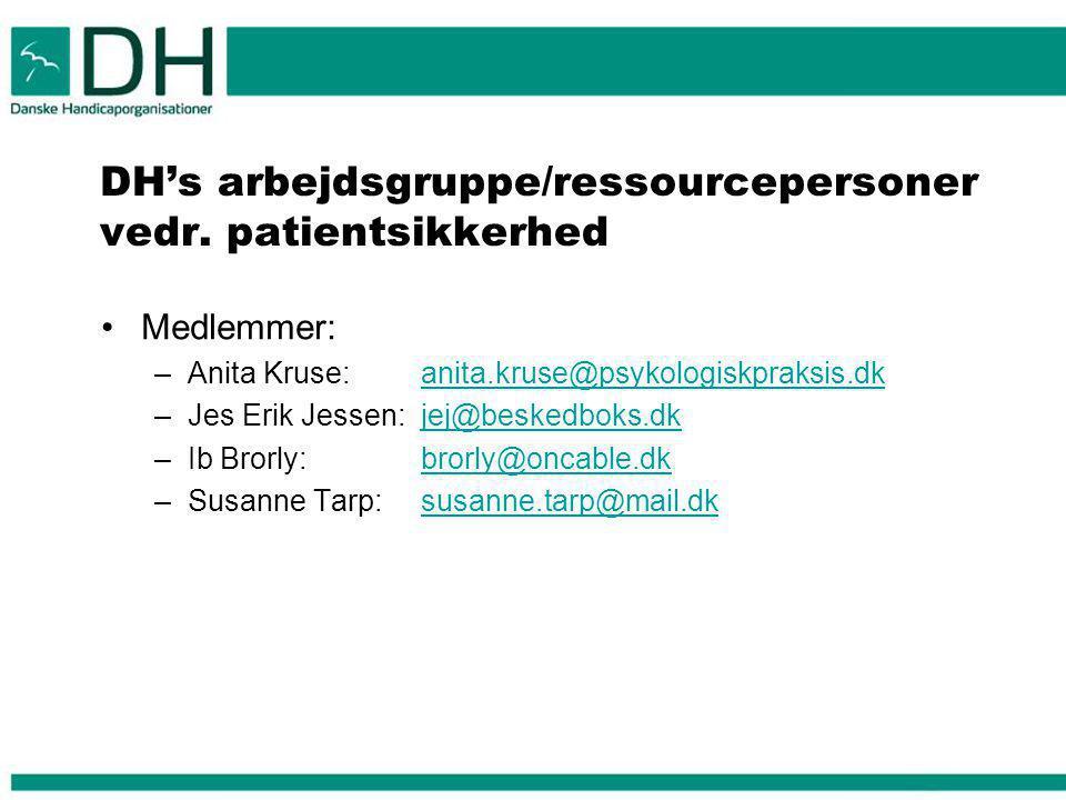 DH's arbejdsgruppe/ressourcepersoner vedr. patientsikkerhed