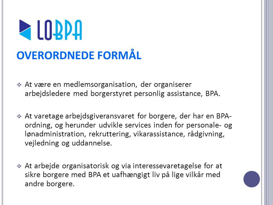 OVERORDNEDE FORMÅL At være en medlemsorganisation, der organiserer arbejdsledere med borgerstyret personlig assistance, BPA.