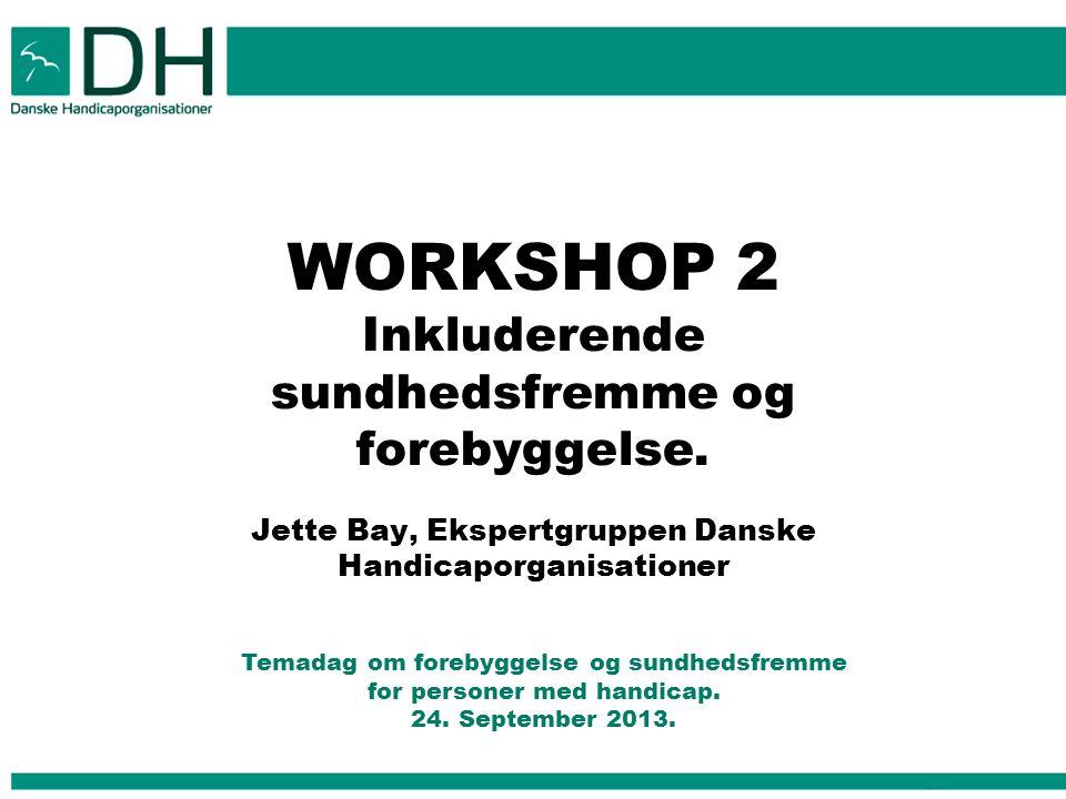 WORKSHOP 2 Inkluderende sundhedsfremme og forebyggelse