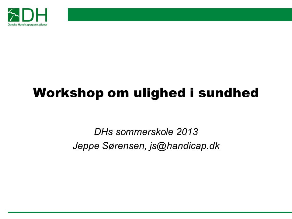 Workshop om ulighed i sundhed