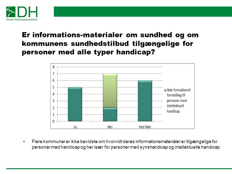 Er informations-materialer om sundhed og om kommunens sundhedstilbud tilgængelige for personer med alle typer handicap