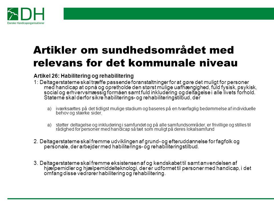 Artikler om sundhedsområdet med relevans for det kommunale niveau