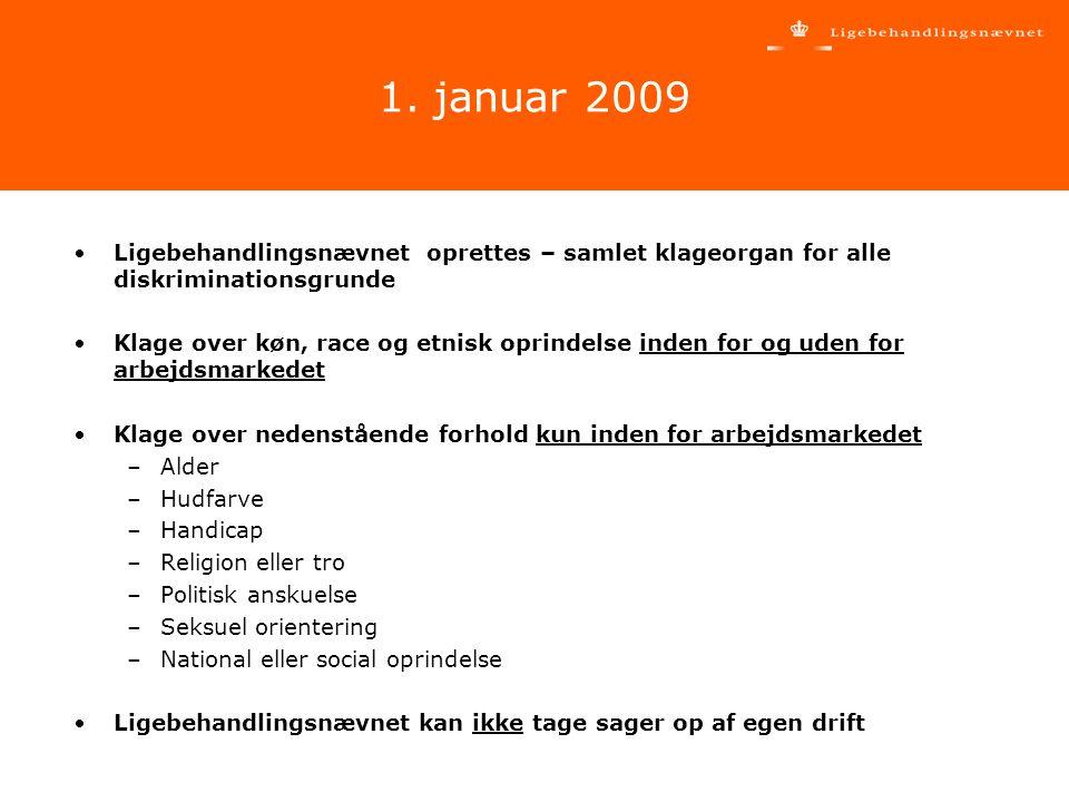 1. januar 2009 Ligebehandlingsnævnet oprettes – samlet klageorgan for alle diskriminationsgrunde.