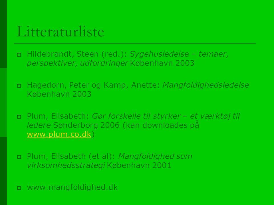 Litteraturliste Hildebrandt, Steen (red.): Sygehusledelse – temaer, perspektiver, udfordringer København 2003.