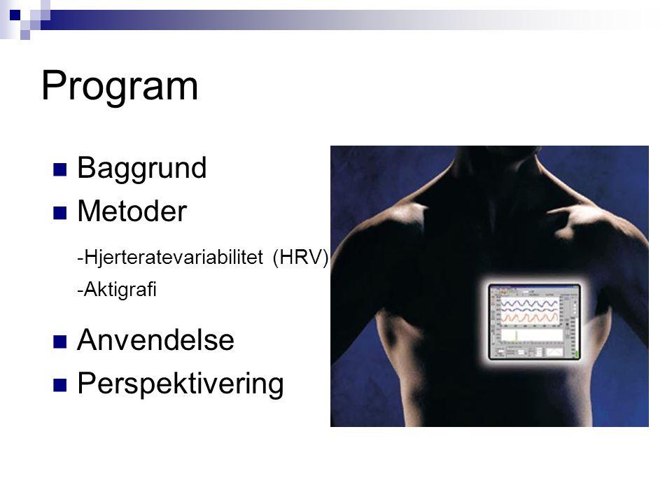 Program Baggrund Metoder -Hjerteratevariabilitet (HRV) Anvendelse