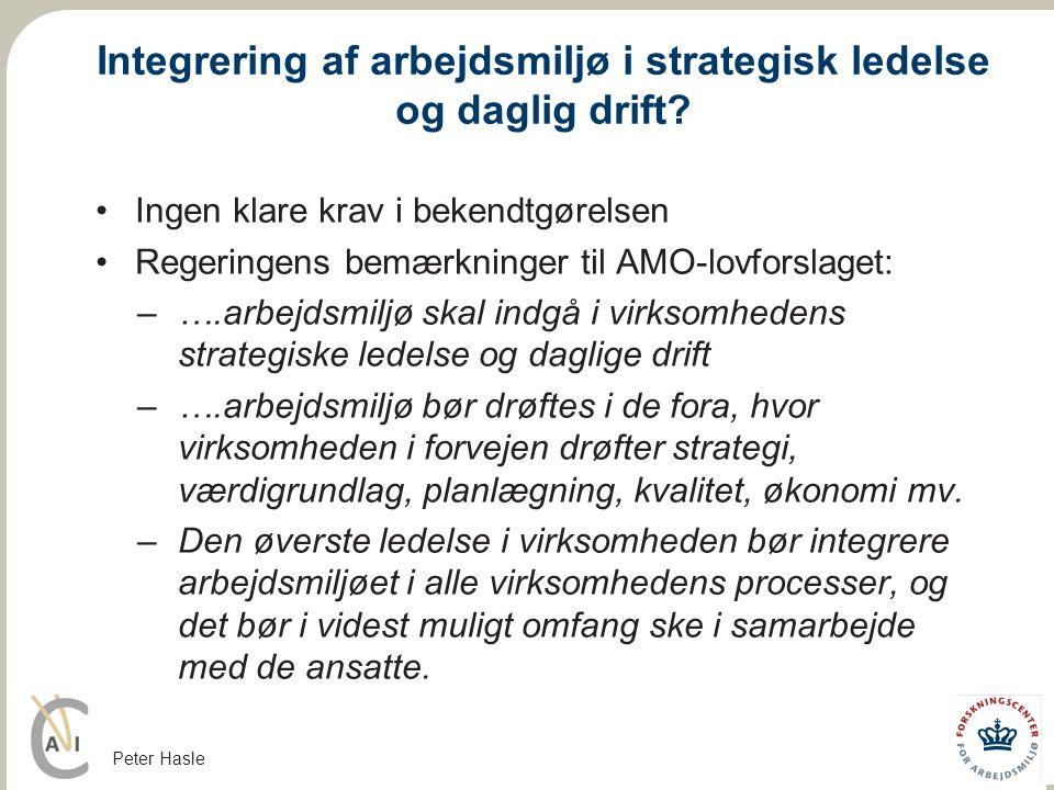 Integrering af arbejdsmiljø i strategisk ledelse og daglig drift
