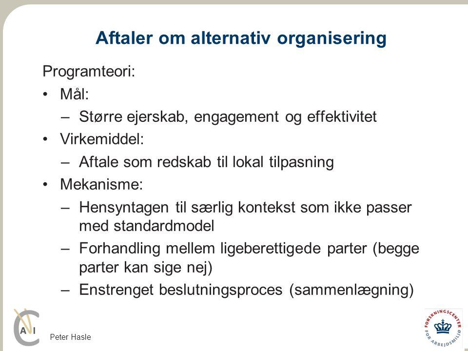 Aftaler om alternativ organisering