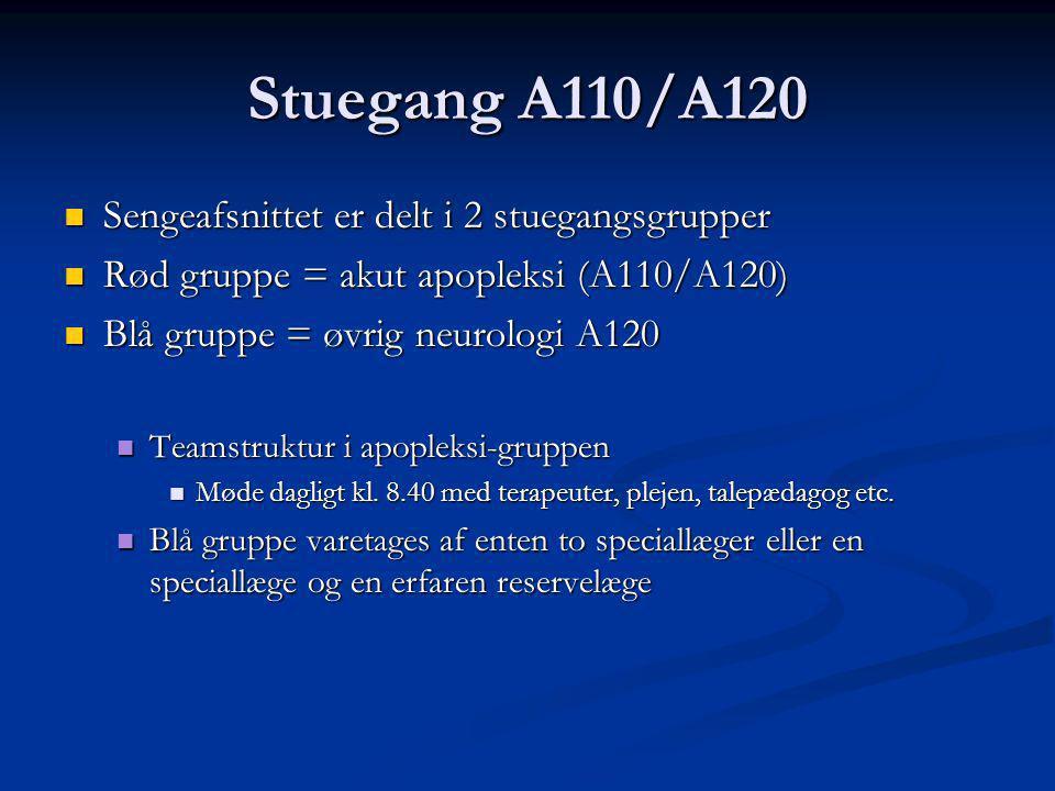 Stuegang A110/A120 Sengeafsnittet er delt i 2 stuegangsgrupper