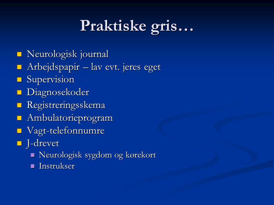 Praktiske gris… Neurologisk journal Arbejdspapir – lav evt. jeres eget