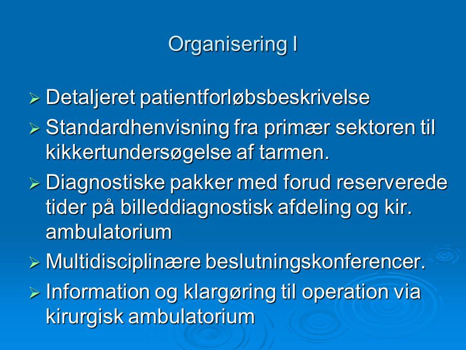 Organisering I Detaljeret patientforløbsbeskrivelse. Standardhenvisning fra primær sektoren til kikkertundersøgelse af tarmen.