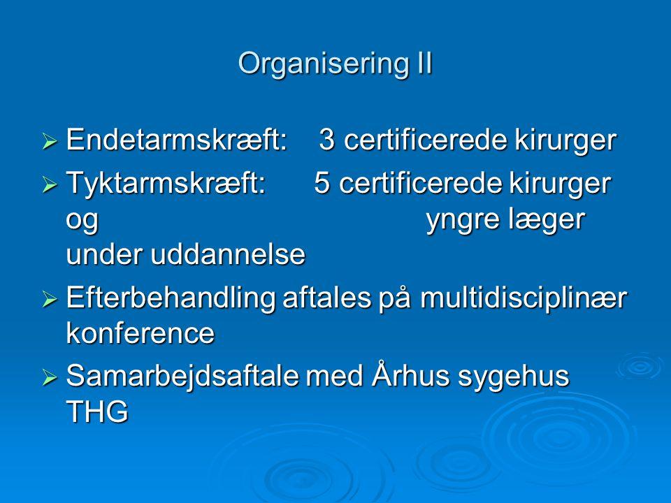 Organisering II Endetarmskræft: 3 certificerede kirurger.