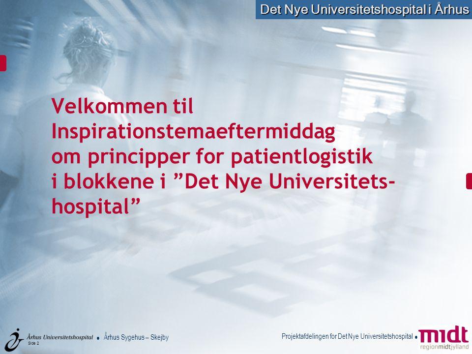 Velkommen til Inspirationstemaeftermiddag om principper for patientlogistik i blokkene i Det Nye Universitets-hospital