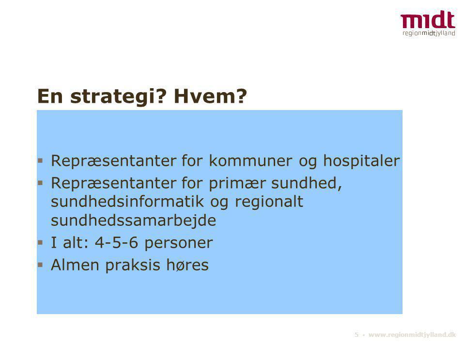 En strategi Hvem Repræsentanter for kommuner og hospitaler