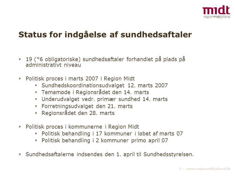 Status for indgåelse af sundhedsaftaler