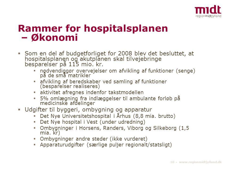 Rammer for hospitalsplanen – Økonomi