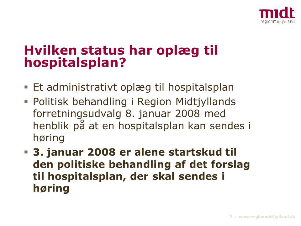 Hvilken status har oplæg til hospitalsplan