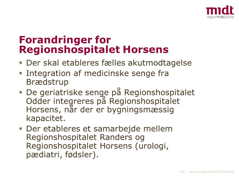 Forandringer for Regionshospitalet Horsens