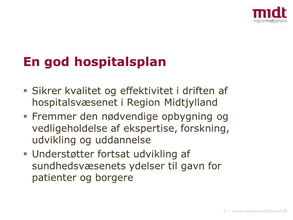 En god hospitalsplan Sikrer kvalitet og effektivitet i driften af hospitalsvæsenet i Region Midtjylland.