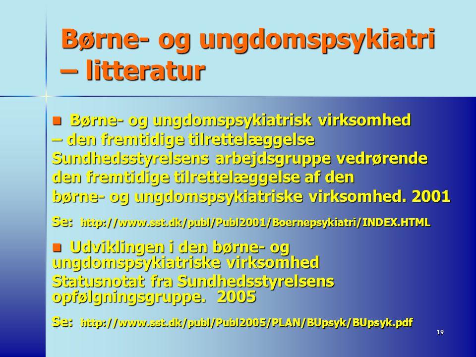 Børne- og ungdomspsykiatri – litteratur