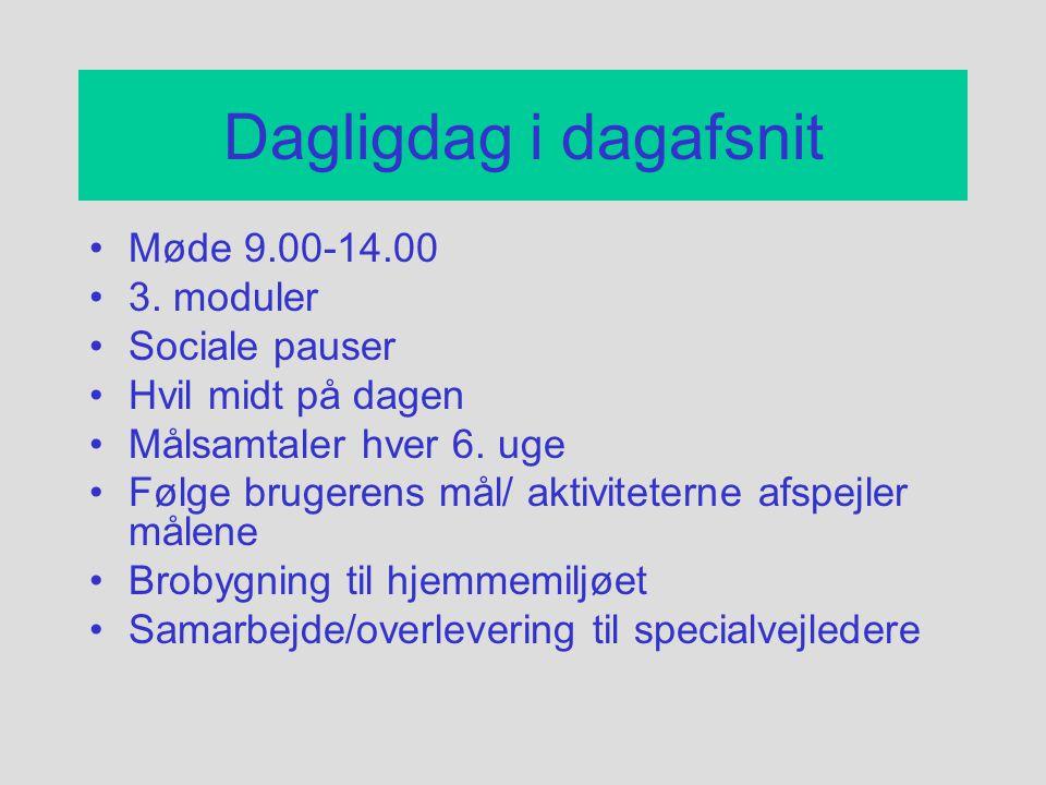 Dagligdag i dagafsnit Møde 9.00-14.00 3. moduler Sociale pauser
