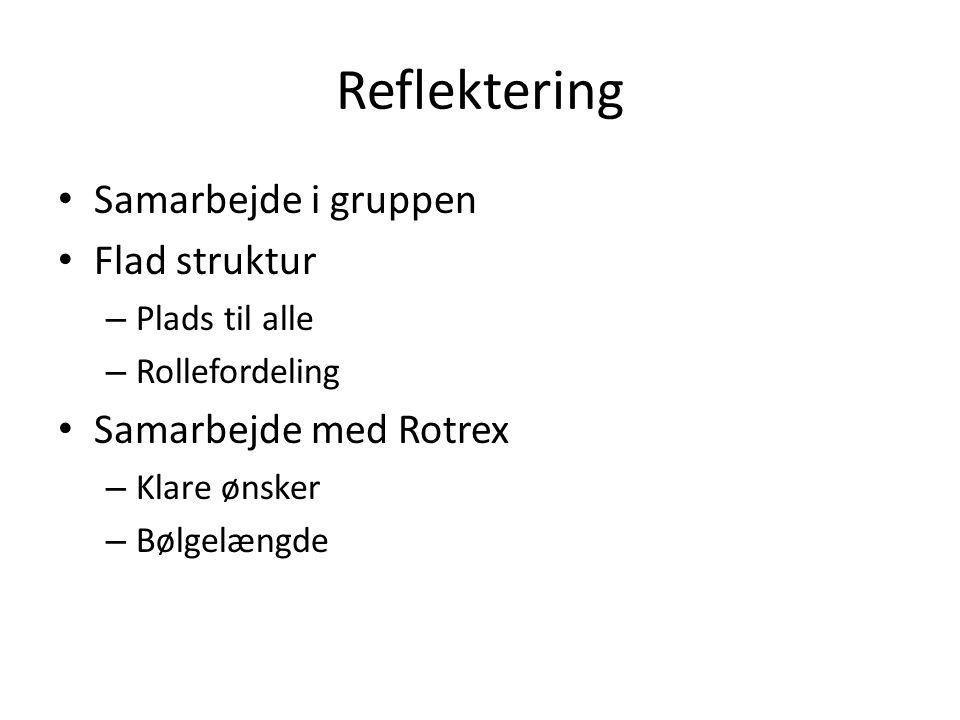 Reflektering Samarbejde i gruppen Flad struktur Samarbejde med Rotrex