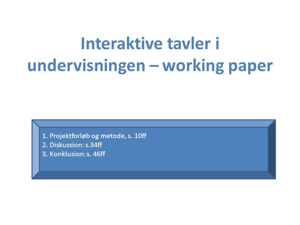 Interaktive tavler i undervisningen – working paper