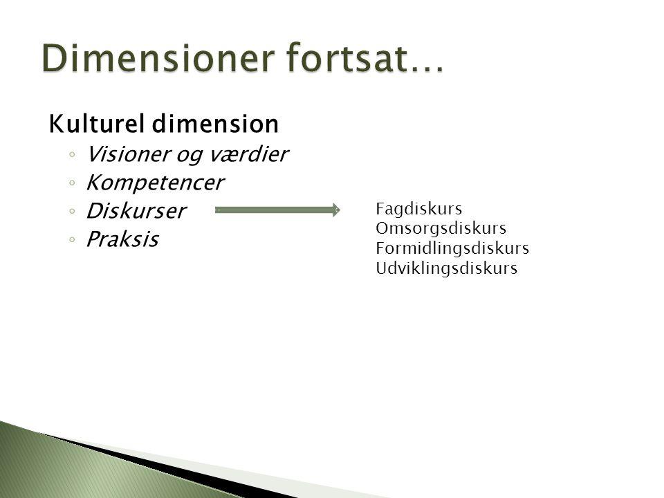 Dimensioner fortsat… Kulturel dimension Visioner og værdier