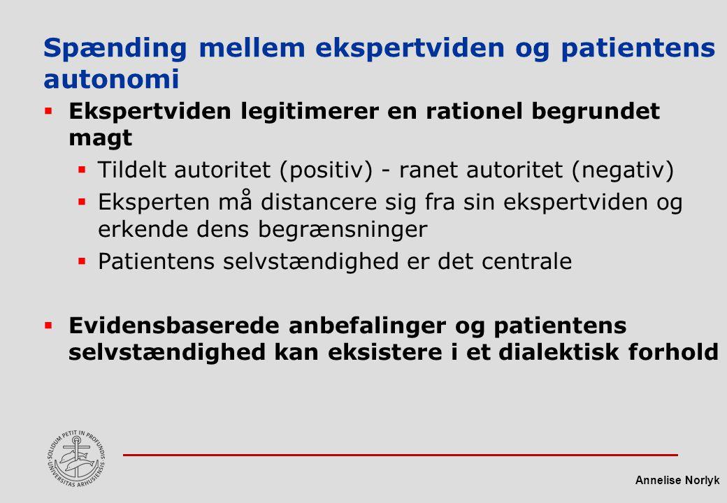 Spænding mellem ekspertviden og patientens autonomi