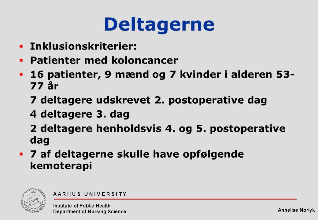 Deltagerne Inklusionskriterier: Patienter med koloncancer
