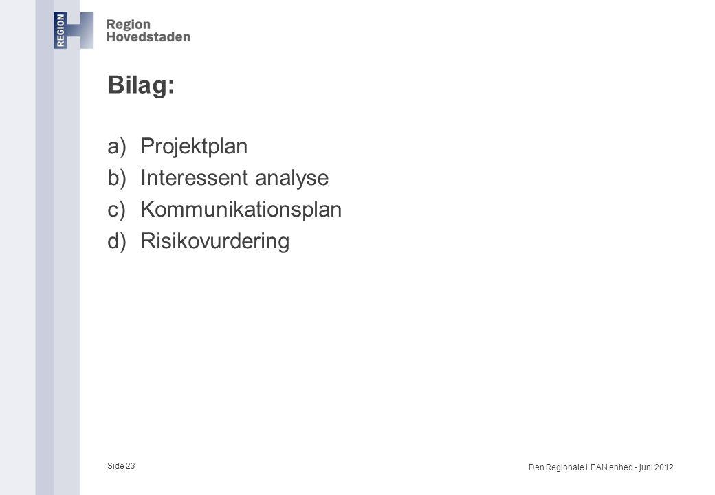Bilag: Projektplan Interessent analyse Kommunikationsplan