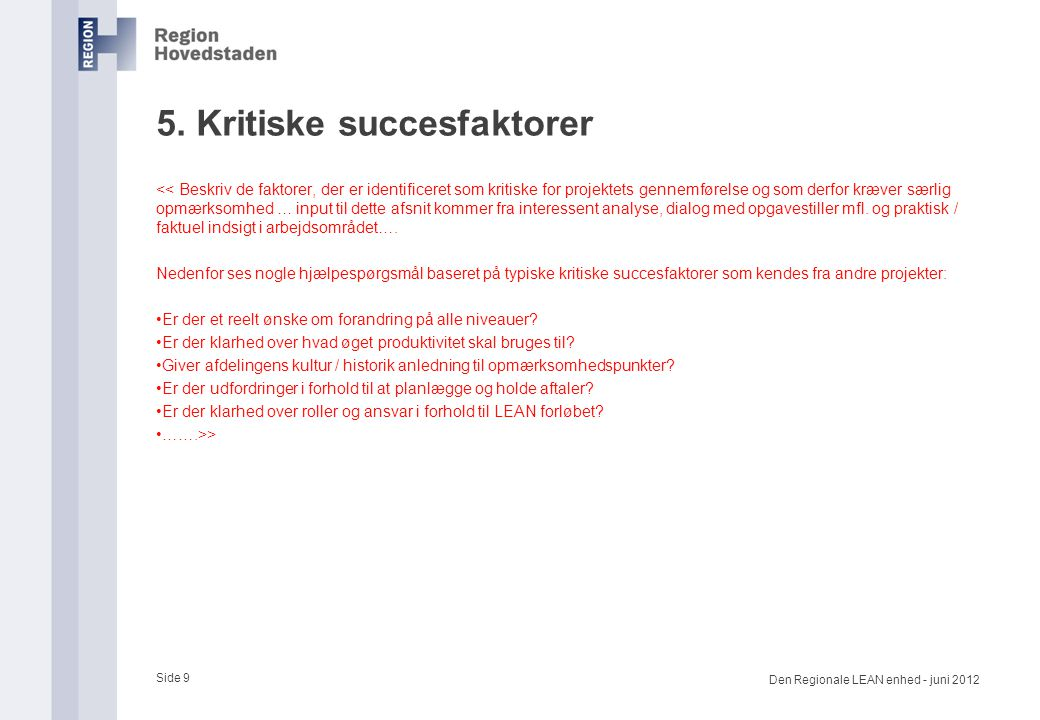 5. Kritiske succesfaktorer
