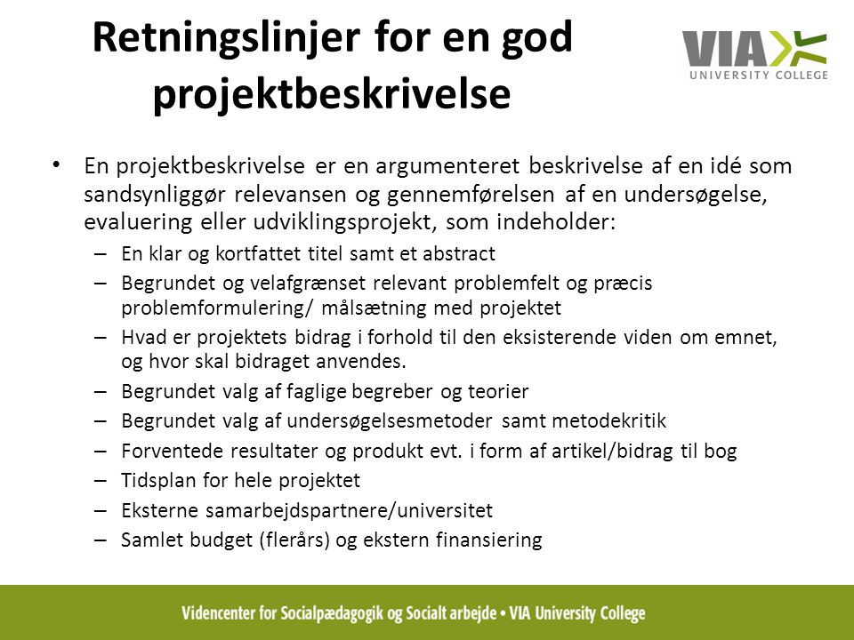 Retningslinjer for en god projektbeskrivelse