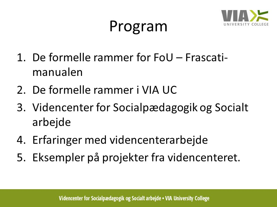 Program De formelle rammer for FoU – Frascati-manualen