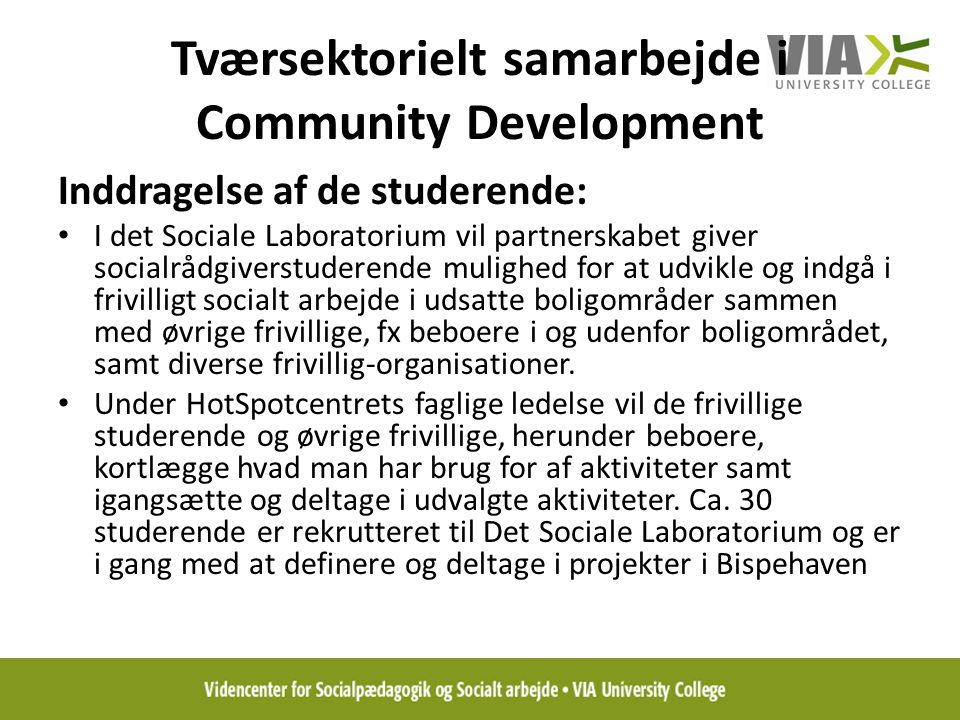 Tværsektorielt samarbejde i Community Development