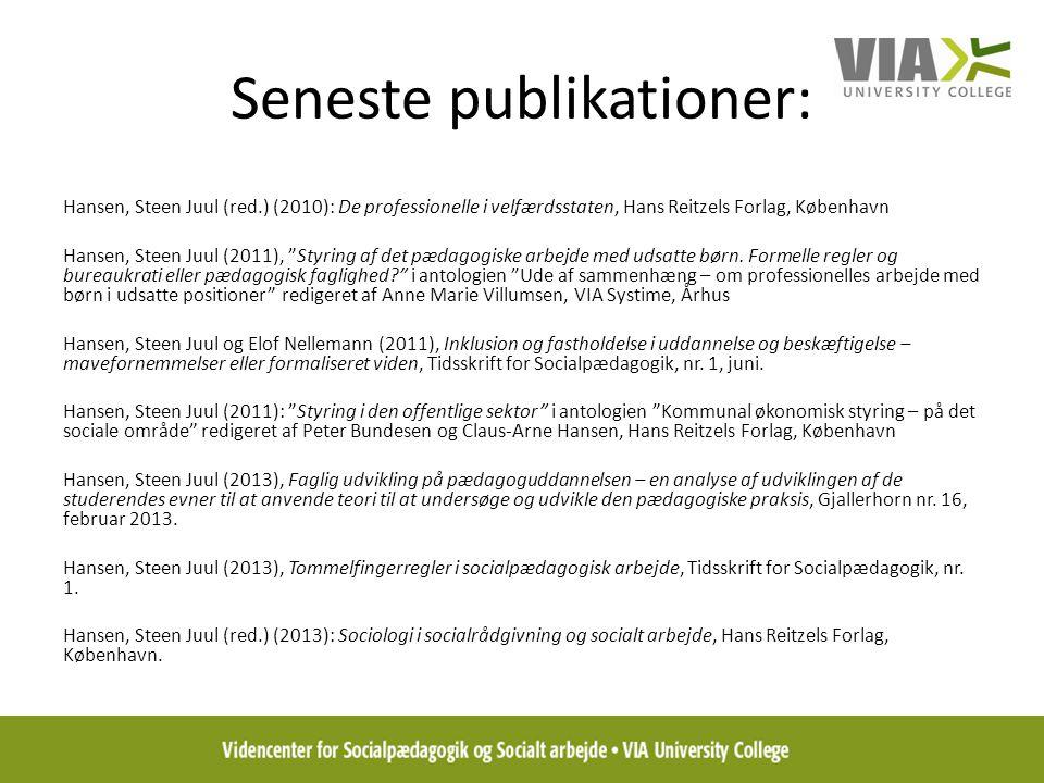 Seneste publikationer:
