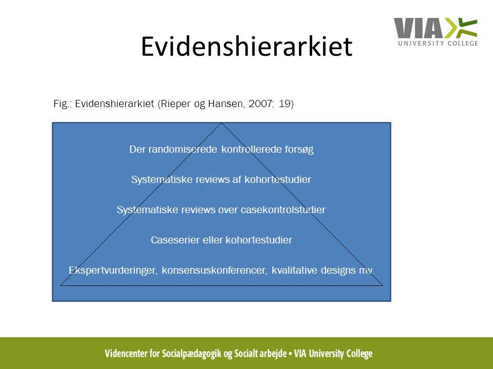 Evidenshierarkiet Fig.: Evidenshierarkiet (Rieper og Hansen, 2007: 19)