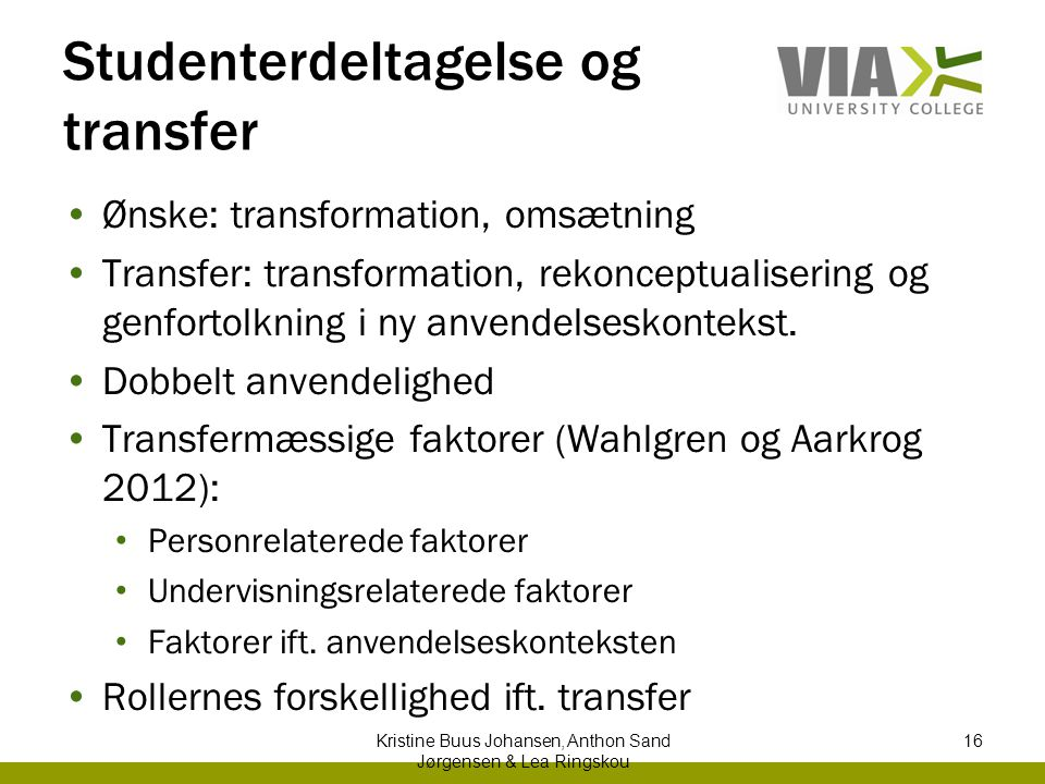 Studenterdeltagelse og transfer