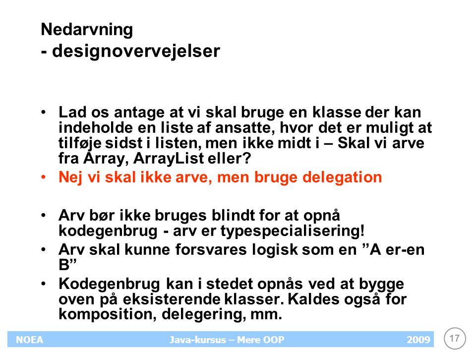 Nedarvning - designovervejelser