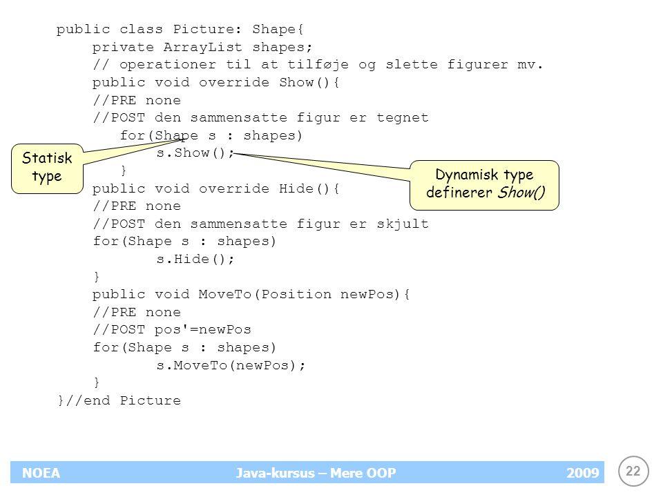Dynamisk type definerer Show()