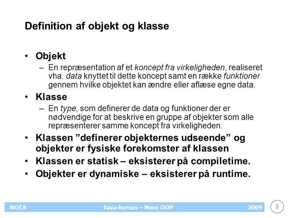 Definition af objekt og klasse