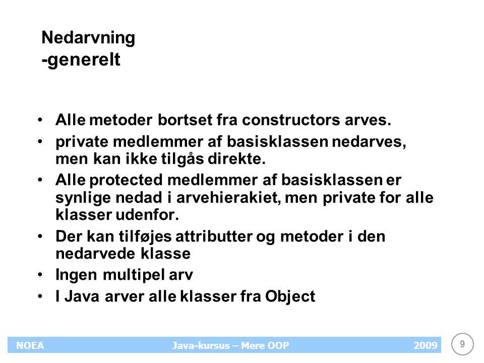 Nedarvning -generelt Alle metoder bortset fra constructors arves.