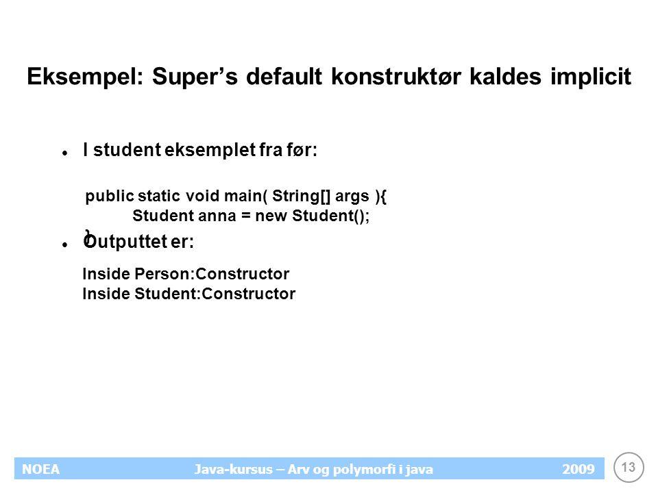 Eksempel: Super's default konstruktør kaldes implicit